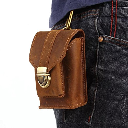- Boleke Mens Genuine Leather Small Hook Fanny Waist Bag Hip Bum Pack Cigarette Pouch (V2061 BROWN)