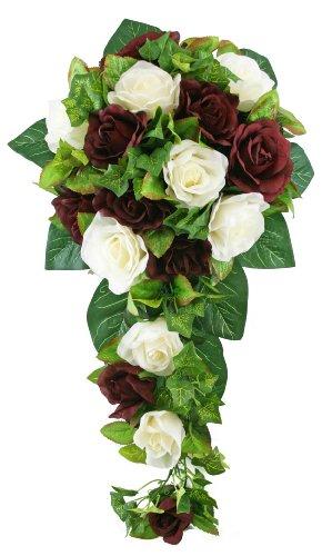 (Burgundy and Ivory Silk Rose Cascade - Silk Bridal Wedding Bouquet )