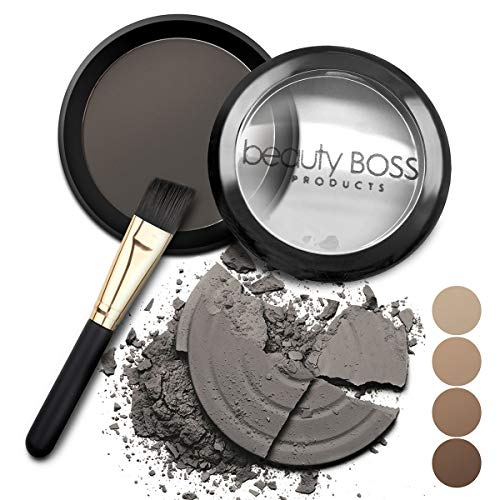 Eyebrow Powder Soft Charcoal - Natural Fill-in Eyebrow Makeup - Brow Power Water Resistant Includes Small Brush (Makeup For Grey Hair And Brown Eyes)
