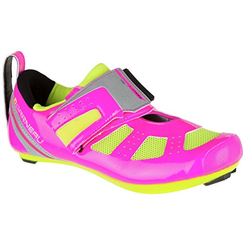 Louis Garneau Women's Tri X-Speed III Cycling Shoe, Pink Glow/Bright Yellow, 41