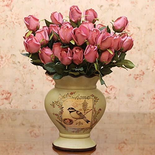 Mountain head アメリカの国の家の装飾花瓶クリエイティブセラミック花瓶レトロ花瓶セット花と鳥塗装磁器 Mountain head (Size : B) B07QK6V7ZT  B