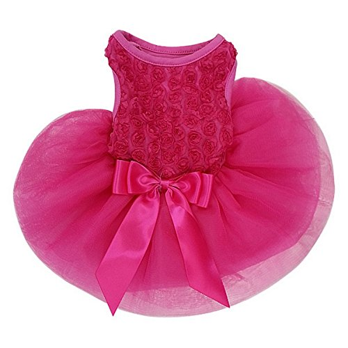 Rosettes Dog Dress Dog Dress Small Hot Pink by Kirei Sui
