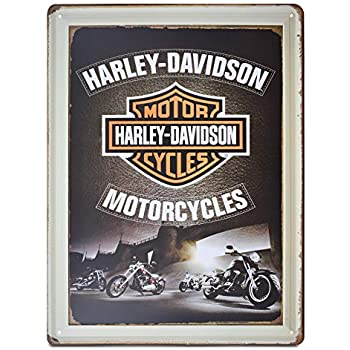 K&H Harley Davidson Motorcycle Retro Metal Tin Sign Posters Wall Decor 12X16-Inch