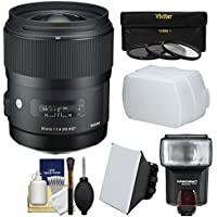 Sigma 35mm f/1.4 Art DG HSM Lens for Nikon DSLR Cameras with Flash + Soft Box & Diffuser + 3 UV/CPL/ND8 Filters + Kit