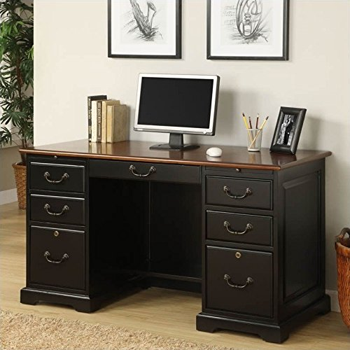 """Riverside Furniture Bridgeport 54"""" Flat Top Desk in Antique"""