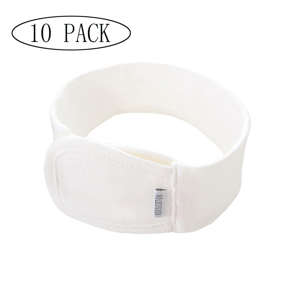 Chiyou 10 Pack Baby Cotton Diaper Fasteners Adjustable and Elastic Diaper Fastened Belt with Velcro Replaces Diaper Pins