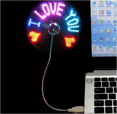 (New RGB version) USB LED RGB Programmable Fan for PC Laptop Notebook Desktops Flexible Gooseneck Mini USB Programmable Fan by SAYTAY