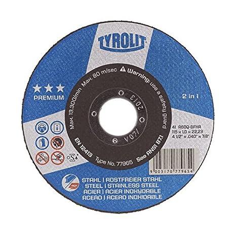 DISCO CORTE ACERO E INOX 230X3X22,2 PREMIUN TYROLI: Amazon ...