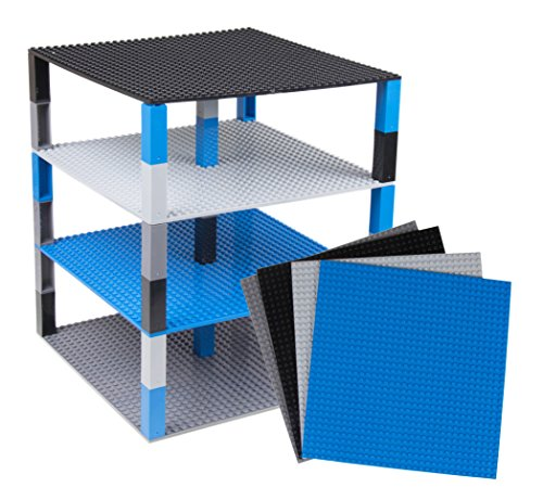 "Free Premium Blue, Gray, Black, and Dark Gray Space Themed Stackable Base Plates 4 Pack 10"" x 10"" Baseplate Bundle with 40 New and Improved 2x2 Stackers-Compatible with All Major Brands-Tower Construction"