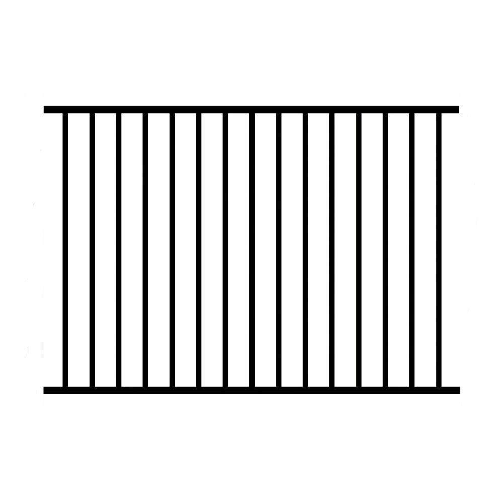Allure Aluminum 48 in. x 72 in. Aluminum Black Unassembled Metropolitan 2-Rail Fence Panel