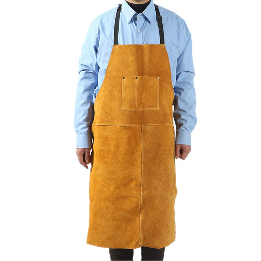 Leather Welding Aprons Heat Flame-Resistant Wear Resistant Long Strap Protective Work Lab Aprons for Men & Women