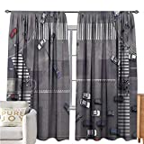 interesting walk in corner shower  UrbanPolyester curtainRoad Intersection Paris France Modern City Life Cars in Traffic Crosswalk Street ViewDrapes for Living Room W72 xL96 Grey White