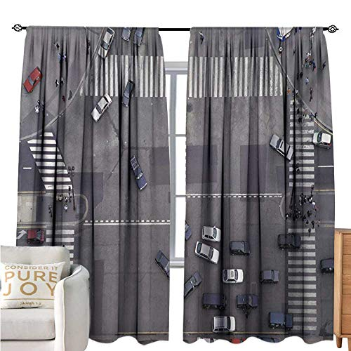 UrbanPolyester curtainRoad Intersection Paris France Modern City Life Cars in Traffic Crosswalk Street ViewDrapes for Living Room W72 xL96 Grey White