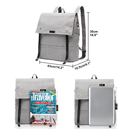 Hynes Eagle Urban Traveler Canvas Backpack Fits 15.6 inch Laptop Light Gray by Hynes Eagle (Image #5)