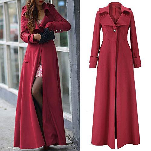 Orangeskycn Womens Lapel Wool Blend Slim Ankle-length Coat Trench Winter Fall Warm Coat -