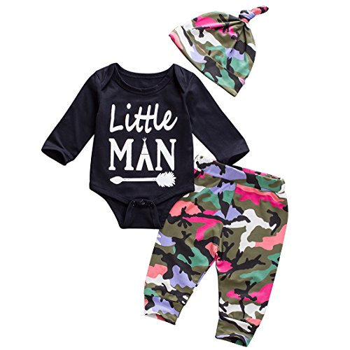 Baby Boys Girls Clothes Clearance Daddy's Little Man Print Bodysuit Outfits Clothes Set with Hat