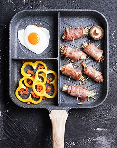 RSHJD Ideal Poêle Compartimentée, 3 Compartiments Poêle antiadhésive Grill à Steak BBQ Petit-déjeuner et Plus