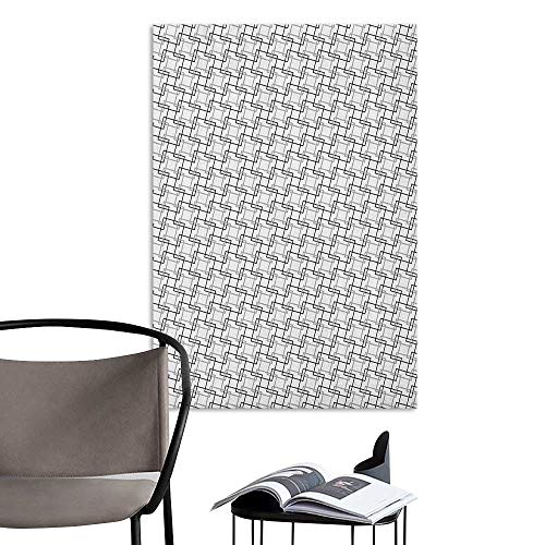 Alexandear Art Decor 3D Wall Mural Wallpaper Stickers Geometric Minimalist Pattern with Intersecting Squares Grayscale Lattice Mosaic Black Pale Grey White Sofa Background Wall W20 x H28