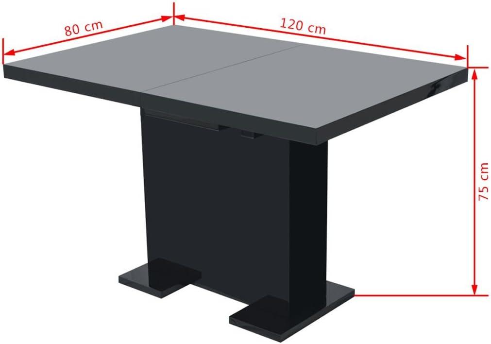 Tidyard Table Extensible de Salle /à Manger en MDF Blanc Brillant Design El/égant 120 x 80 x 75 cm