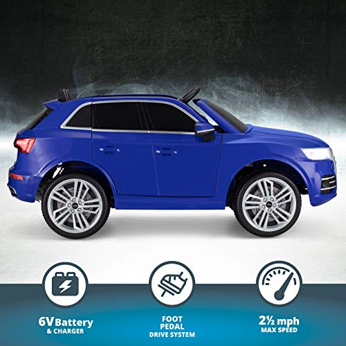 Kid Trax Electric Kids Luxury Audi Q5 Car Ride-On Toy, 6 Volt Battery, Remote Control, Ages 3-5 Years, Blue