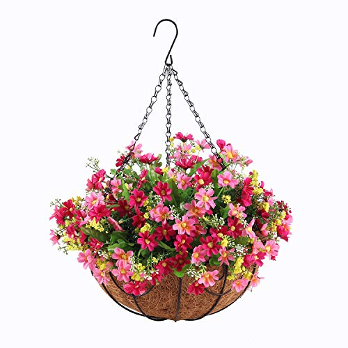 G-XMZZ 12-inch Large Flower Pot Hanging Basket with Artificial Hanging Flower Decoration, Courtyard, Outdoor, Indoor, Landscaping Artificial Flowers Hanging Basket (Pink-red Daisy Flowers)