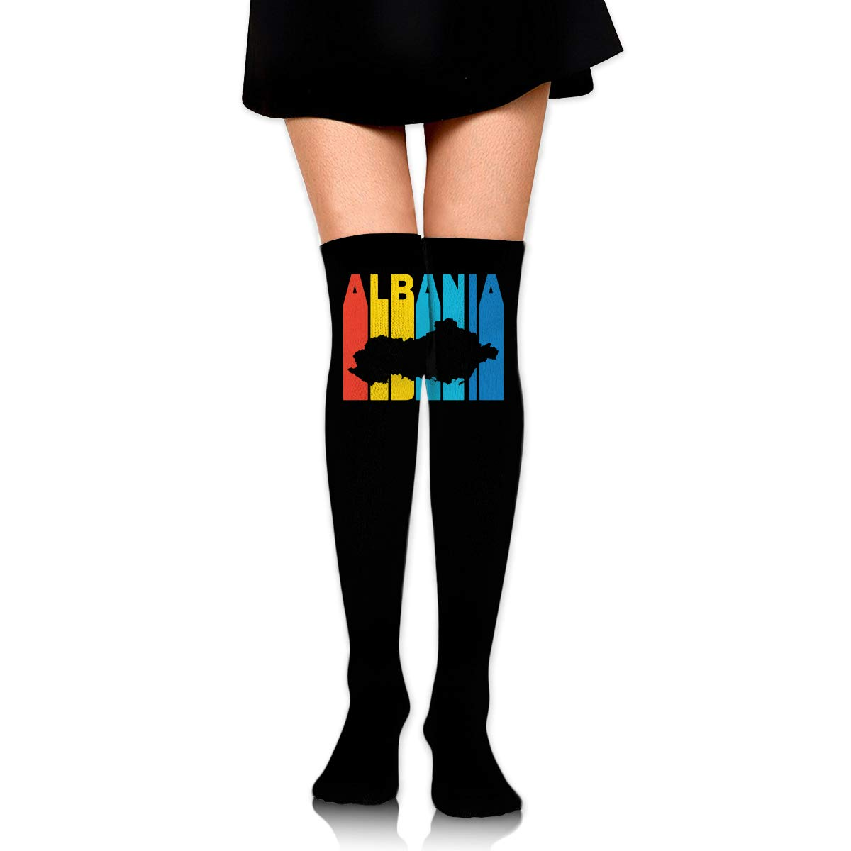 One Size Girls Womens Albanian Retro 1970s Style Over Knee Thigh High Stockings Fashion Socks