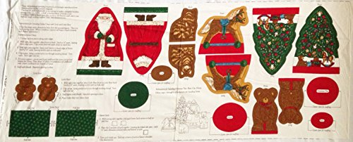 """""""Memories of Christmas Past"""" Tree & Toys Shaped Christmas Decorations Fabric Panel (Great for Sewing, Craft Projects, Pillows, Appliques and More) 17"""" x 44"""""""