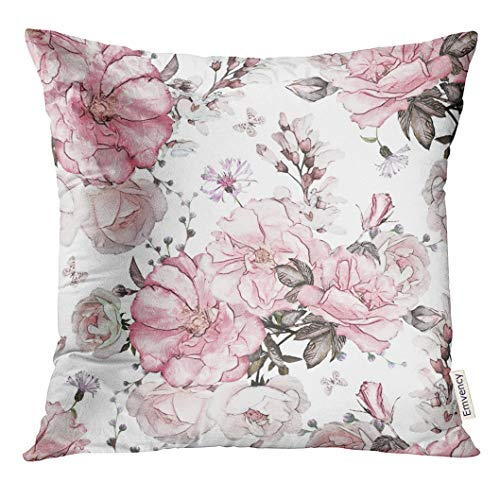 VANMI Throw Pillow Cover Gray Wall with Pink Flowers and Leaves on White Watercolor Floral Pattern Rose in Pastel Color Decorative Pillow Case Home Decor Square 18x18 Inches Pillowcase