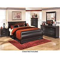 Huey Vineyard Queen Bedroom Set with Sleigh Bed Dresser Mirror and Nightstand in Black