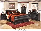 Huey Vineyard Queen Bedroom Set with Sleigh Bed Dresser Mirror and Nightstand in Black