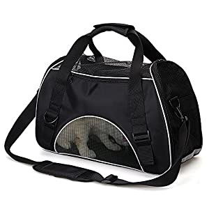 Small Dog Carrier - Portable Puppy Carrier Airline Approved Cat Carrier Padded Kitten Carrier Bag Cat Carry Case Under Seat Foldable Pet Travel Bag Chihuahua Teacup Ferret Yorkie Rabbit Carrier Purse