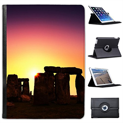 Stonehenge Pagan Sunset For Apple iPad AIR 2013 Version Faux Leather Folio Presenter Case Cover Bag with Stand Capability (Pagan Version Of Christmas)