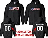 King Queen American Flag Pattern Customized Text Name Design Couple Hoodie Size Men XXL Women M