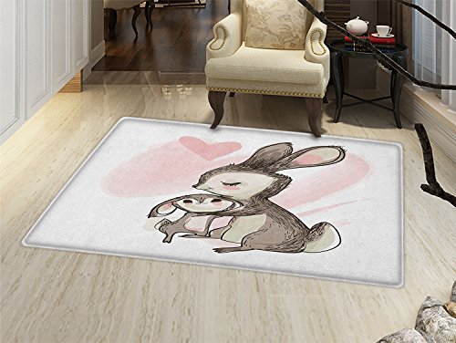 Kids Door Mat Small Rug Sketch Artwork of a Young Bunny with His Mom Happy Mother`s Day Theme Bath Mat 3D Digital Printing Mat Pale Pink Taupe ()