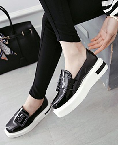Enfiler Mode Femme Plateforme Vernis Noir A Baskets Aisun xaPq7gwS