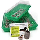 Seed Starting Kit – Complete Supplies – 3 Mini Greenhouse Trays with Dome fits on Windowsill, Fiber Soil Pods, Detailed Instructions. Indoor / Outdoor Gardening. Grow Herbs, Flowers and Vegetables.