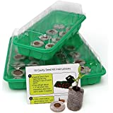 pot growing kit - Seed Starting Kit – Complete Supplies – 3 Mini Greenhouse Trays with Dome fits on Windowsill, Fiber Soil Pods, Detailed Instructions. Indoor / Outdoor Gardening. Grow Herbs, Flowers and Vegetables.