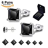 Anni Coco 18k White Gold Plated Stainless Steel Square Princess Cut Black CZ Stud Earrings Set for Women Men, 3mm-8mm 6 Pairs