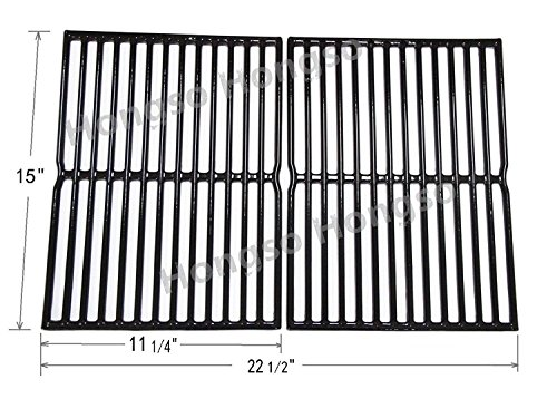 Hongso PCG522 Porcelain Coated Cast Iron Cooking Grid Replacement for Weber Spirit 200 series, Spirit 500, Genesis Silver A, for Weber 7522, Set of 2 (Aftermarket Replacements) (Porcelain Coated Cast Iron Cooking Grids)