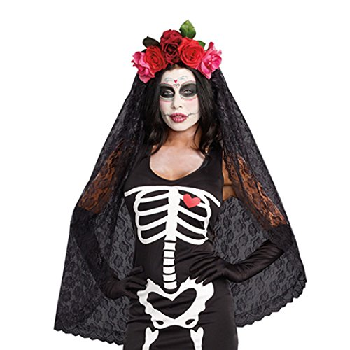 Dreamgirl Women's Dia de los Muertos Sugar Skull Costume Headpiece]()