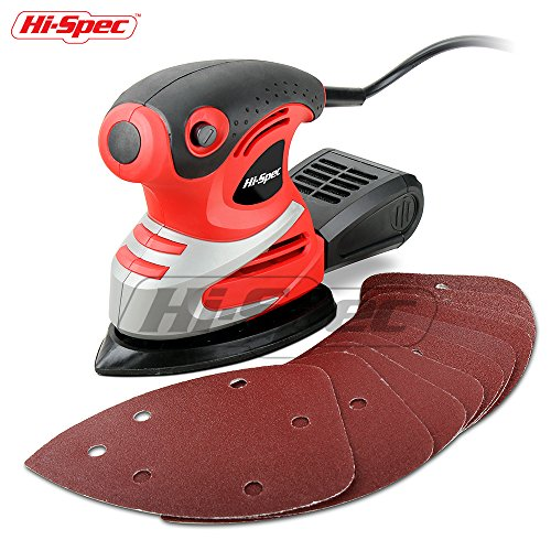 Hi-Spec 200W 1.6A Palm Detail Orbital Mouse Sander with Dust Collector Box & 10pc Sanding Papers for Removing Paint, Varnish, Stains, Preparing Furniture, Polishing, Smoothing Out & Sanding Down