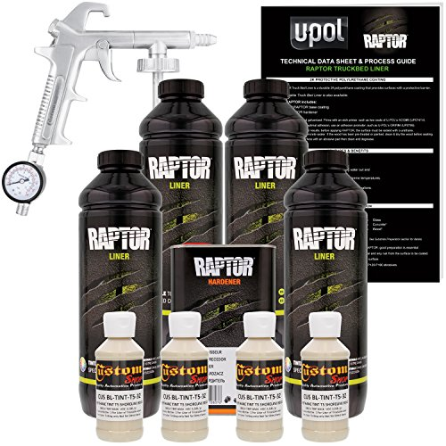 U-Pol Raptor Shoreline Beige Urethane Spray-On Truck Bed Liner Kit w/Free Spray Gun, 4 Liters