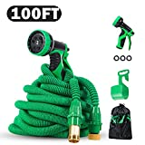 PatioPro 100ft Garden Hose Set All New Water 3/4 Solid Brass Fittings, Flexible Expanding, Bonus A 9-Pattern Sparyer, A hanger And A Storage Bag, Green