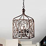 Jojospring Ashley Crystal Bud Foyer Pendant Lantern in Antique Copper