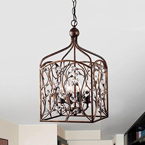 Jojospring Ashley Crystal Bud Foyer Pendant Lantern in Antique Copper