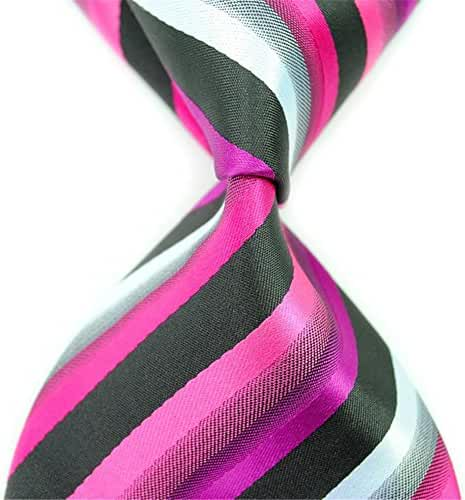 Allbebe Striped Woven Jacquard 100% Silk Business Men's Neckties Leisure Ties