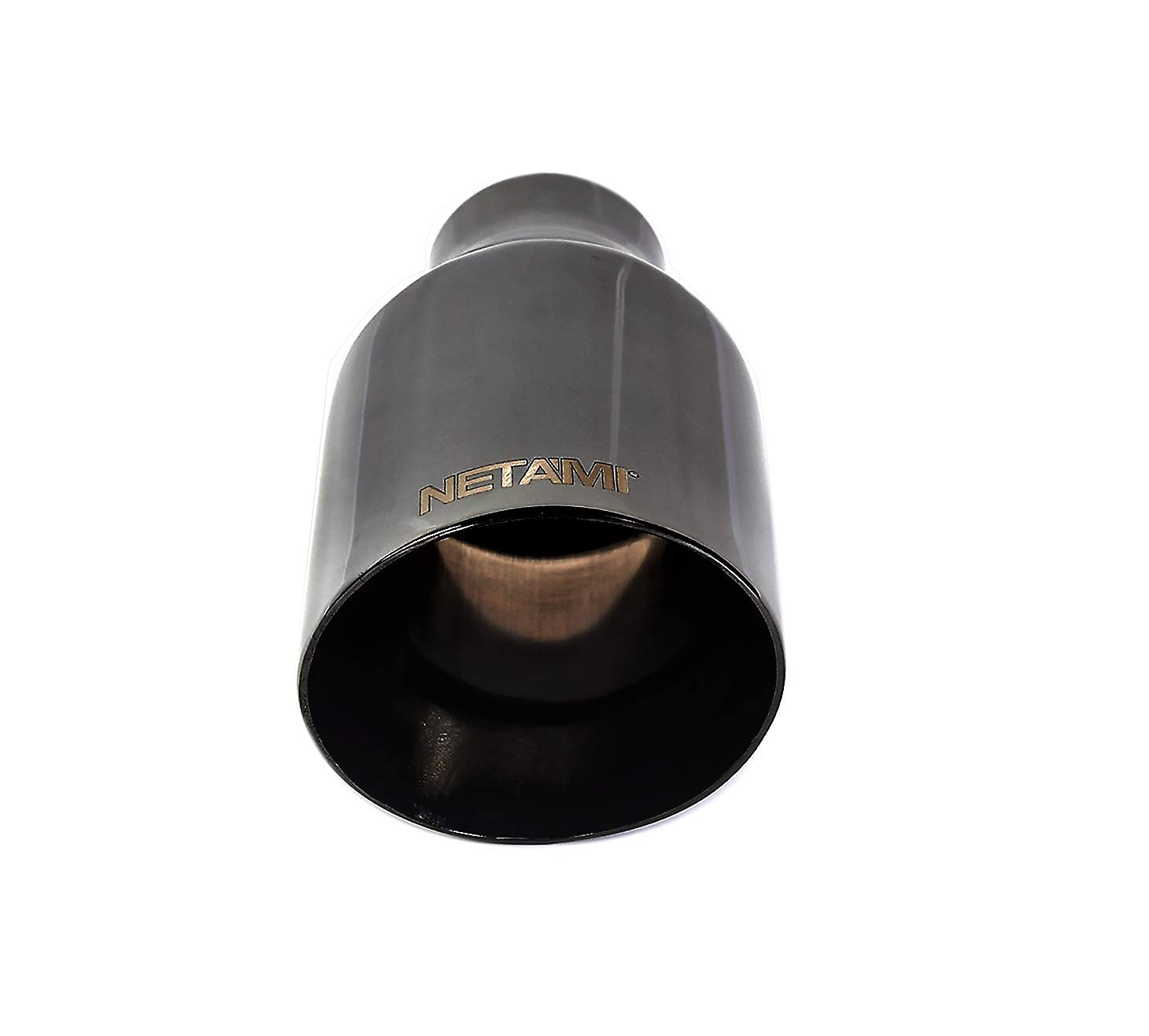 2.25 Inlet//3.5 Outlet NETAMI NT-2375 DOUBLE WALL BLACK CHROME STAINLESS STEEL EXHAUST TIP