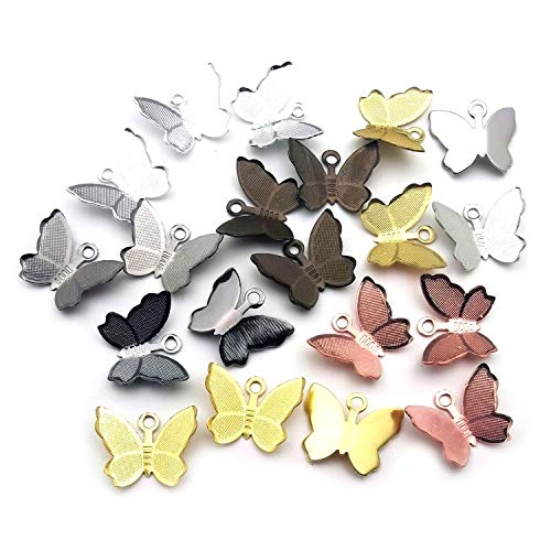 Youdiyla 105pcs Tiny Butterfly Charms, 7 Colors, 11X13mm, Small Mini Brass Butterfly Insect Charm Metal Pendant Supplies Craft Findings for Jewelry Making (HM256) -