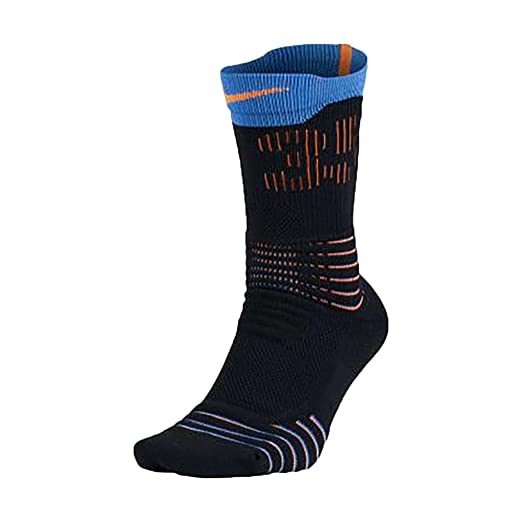 5facc54e5013 Nike Mens Elite Crew Photo Blue Black Team Orange Versatility Basketball  Socks (Small