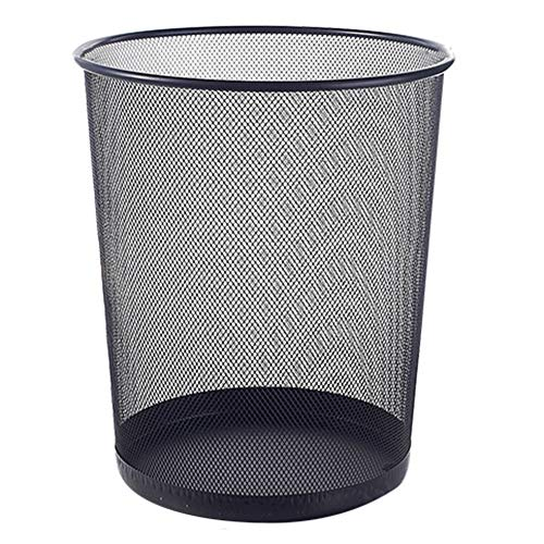 Trash Can Kitchen Living Room Bathroom Size Number Barbed Wire No Cover Paper Basket (Color : Black, Size : 19x26x24cm)